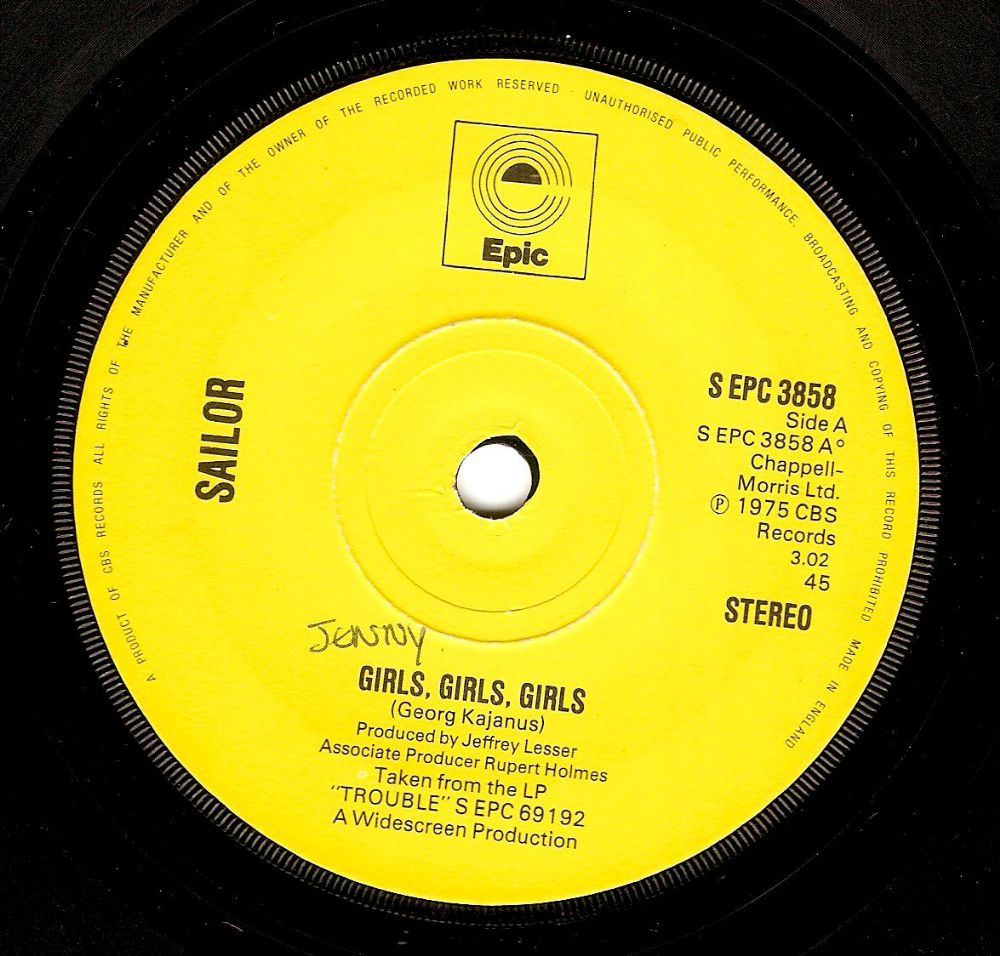 SAILOR Girls, Girls, Girls Vinyl Record 7 Inch Epic 1975